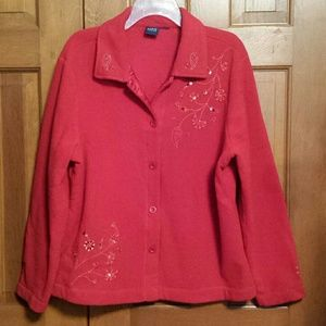 Fleece Red Jacket with Sequins & Beads sz XL